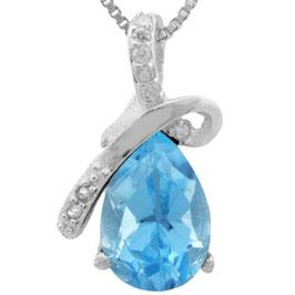 Anhänger LaPaz, 925er Silber, 1,512 Kt. Blautopas/Diamant, mit/ohne Kette wählbar