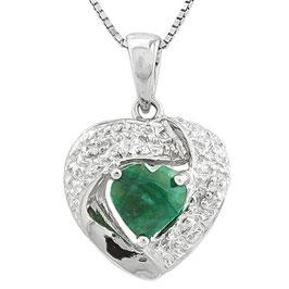 Anhänger Maskat, 925er Silber, 1,0 Kt. Smaragd/Diamant, mit/ohne Kette wählbar