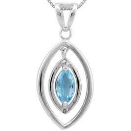 Anhänger Asmara, 925er Silber, 0,975 Kt. Blautopas/Diamant, mit/ohne Kette wählbar