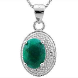 Anhänger Ankara, 925er Silber, 1,656 Kt. Smaragd/Diamant mit/ohne Kette wählbar