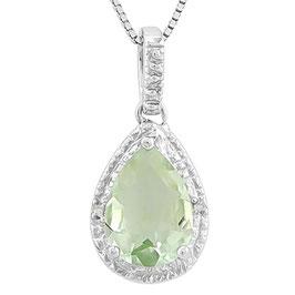 Anhänger Ottawa, 925er Silber, 2,35 Kt. Grüner Amethyst/Diamant, mit/ohne Kette wählbar