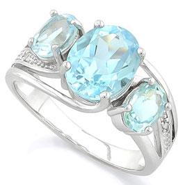 Damen Ring Nila, 925er Silber, 4,607 Kt. echter Blautopas/Diamant