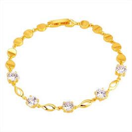 Armband Barbados, Metall-Legierung, Gold plattiert, weiße Zirkonia