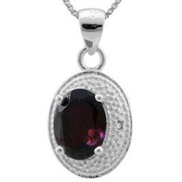 Anhänger Ankara, 925er Silber, 1,776 Kt. Granat/Diamant mit/ohne Kette wählbar