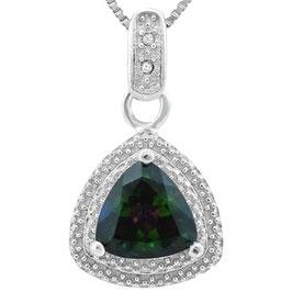 Anhänger Kapstadt, 925 Silber, 1,212 Kt. Mystic Topas/Diamant, mit/ohne Kette wählbar