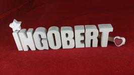 Beton, Steinguss Buchstaben 3D Deko Namen INGOBERT als Geschenk verpackt!