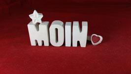 Beton, Steinguss Buchstaben 3D Deko Stern Namen MOIN als Geschenk verpackt!