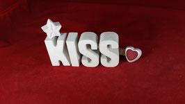 Beton, Steinguss Buchstaben 3D Deko Stern Namen KISS als Geschenk verpackt!