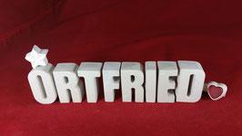 Beton, Steinguss Buchstaben 3D Deko Namen ORTFRIED als Geschenk verpackt!