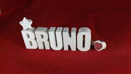 Beton, Steinguss Buchstaben 3D Deko Namen BRUNO als Geschenk verpackt!