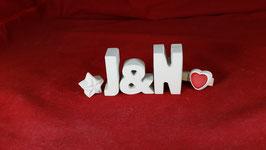 Beton, Steinguss Buchstaben 3D Deko Stern Schriftzug J & N  als Geschenk verpackt!