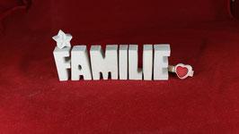 Beton, Steinguss Buchstaben 3D Deko Stern Schriftzug FAMILIE als Geschenk verpackt!