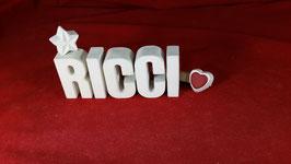Beton, Steinguss Buchstaben 3D Deko Namen RICCI als Geschenk verpackt!