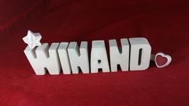 Beton, Steinguss Buchstaben 3D Deko Namen WINAND als Geschenk verpackt!