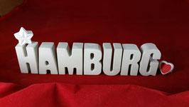Beton, Steinguss Buchstaben 3D Deko Stern Namen HAMBURG als Geschenk verpackt!