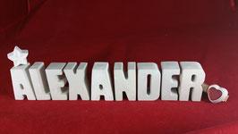 Beton, Steinguss Buchstaben 3D Deko Namen ALEXANDER als Geschenk verpackt!