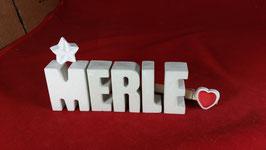 Beton, Steinguss Buchstaben 3D Deko Namen MERLE als Geschenk verpackt mit Stern und Herzklammer!