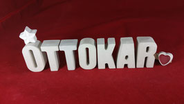 Beton, Steinguss Buchstaben 3D Deko Namen OTTOKAR als Geschenk verpackt!
