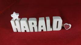 Beton, Steinguss Buchstaben 3D Deko Namen HARALD als Geschenk verpackt!