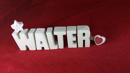 Beton, Steinguss Buchstaben 3D Deko Namen WALTER als Geschenk verpackt!