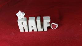 Beton, Steinguss Buchstaben 3D Deko Namen RALF als Geschenk verpackt!