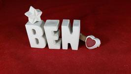 Beton, Steinguss Buchstaben 3D Deko Namen BEN als Geschenk verpackt!