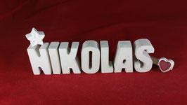 Beton, Steinguss Buchstaben 3D Deko Namen NIKOLAS als Geschenk verpackt!