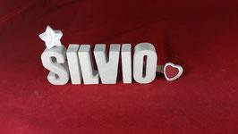 Beton, Steinguss Buchstaben 3D Deko Namen SILVIO als Geschenk verpackt!