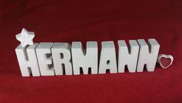 Beton, Steinguss Buchstaben 3D Deko Namen HERMANN als Geschenk verpackt!