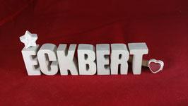 Beton, Steinguss Buchstaben 3D Deko Namen ECKBERT als Geschenk verpackt!