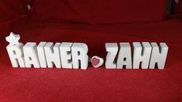 Beton, Steinguss Buchstaben 3D Deko Stern Schriftzug RAINER ZAHN als Geschenk verpackt!