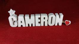Beton, Steinguss Buchstaben 3D Deko Namen CAMERON als Geschenk verpackt!