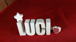 Beton, Steinguss Buchstaben 3D Deko Namen LUCI als Geschenk verpackt mit Stern und Herzklammer!