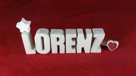 Beton, Steinguss Buchstaben 3D Deko Namen LORENZ als Geschenk verpackt!
