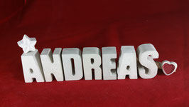 Beton, Steinguss Buchstaben 3D Deko Namen ANDREAS als Geschenk verpackt!