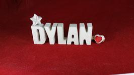 Beton, Steinguss Buchstaben 3D Deko Namen DYLAN als Geschenk verpackt!