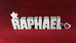 Beton, Steinguss Buchstaben 3D Deko Namen RAPHAEL als Geschenk verpackt!
