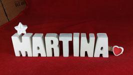 Beton, Steinguss Buchstaben 3D Deko Namen MARTINA als Geschenk verpackt mit Stern und Herzklammer!