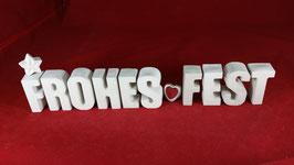 Beton, Steinguss Buchstaben 3D Deko Stern Namen FROHES FEST als Geschenk verpackt!