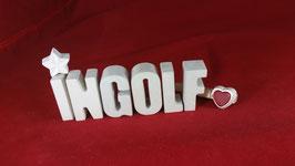 Beton, Steinguss Buchstaben 3D Deko Namen INGOLF als Geschenk verpackt!