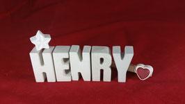 Beton, Steinguss Buchstaben 3D Deko Namen HENRY als Geschenk verpackt!