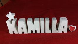 Beton, Steinguss Buchstaben 3D Deko Namen KAMILLA als Geschenk verpackt mit Stern und Herzklammer!