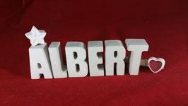 Beton, Steinguss Buchstaben 3D Deko Stern Schriftzug ALBERT als Geschenk verpackt!