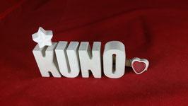 Beton, Steinguss Buchstaben 3D Deko Namen KUNO als Geschenk verpackt!
