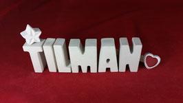 Beton, Steinguss Buchstaben 3D Deko Namen TILMAN als Geschenk verpackt!