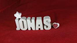Beton, Steinguss Buchstaben 3D Deko Namen JONAS als Geschenk verpackt!