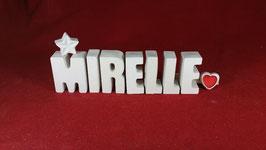 Beton, Steinguss Buchstaben 3D Deko Namen MIRELLE als Geschenk verpackt mit Stern und Herzklammer!