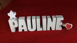 Beton, Steinguss Buchstaben 3D Deko Namen PAULINE als Geschenk verpackt mit Stern und Herzklammer!
