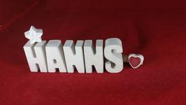 Beton, Steinguss Buchstaben 3D Deko Namen HANNS als Geschenk verpackt!