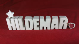 Beton, Steinguss Buchstaben 3D Deko Namen HILDEMAR als Geschenk verpackt!